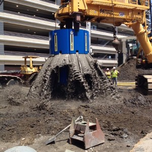 Caisson foundation and drilling for cira centre south